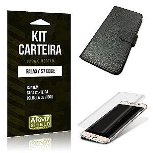 Kit Carteira Samsung s7 edge Película de Vidro + Capa Carteira -ArmyShield