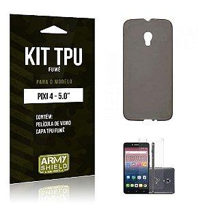Kit Tpu Fumê Alcatel pixi 4/5.0 Película de Vidro + Capa Tpu Fumê -ArmyShield