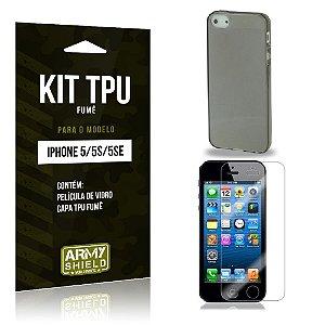 Kit Tpu Fumê Iphone 5g/5 se Película de Vidro + Capa Tpu Fumê -ArmyShield