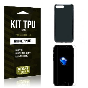 Kit Tpu Fumê Iphone 7 plus Película de Vidro + Capa Tpu Fumê -ArmyShield