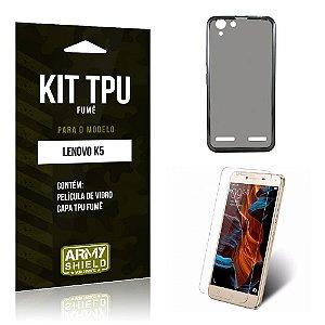 Kit Tpu Fumê Lenovo k5 Película de Vidro + Capa Tpu Fumê -ArmyShield