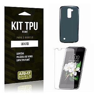 Kit Tpu Fumê Lg k10 Película de Vidro + Capa Tpu Fumê -ArmyShield