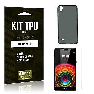 Kit Tpu Fumê Lg x power Película de Vidro + Capa Tpu Fumê -ArmyShield