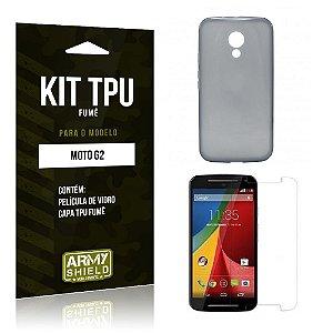 Kit Tpu Fumê Motorola moto g2 Película de Vidro + Capa Tpu Fumê -ArmyShield