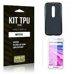 Kit Tpu Fumê Motorola moto g3 Película de Vidro + Capa Tpu Fumê -ArmyShield