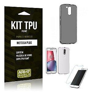 Kit Tpu Fumê Motorola moto g4 plus Película de Vidro + Capa Tpu Fumê -ArmyShield