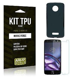 Kit Tpu Fumê Motorola moto z force Película de Vidro + Capa Tpu Fumê -ArmyShield
