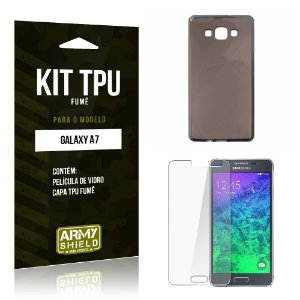 Kit Tpu Fumê Samsung a7 Película de Vidro + Capa Tpu Fumê -ArmyShield