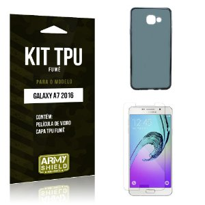 Kit Tpu Fumê Samsung a7 II Película de Vidro + Capa Tpu Fumê -ArmyShield