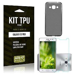 Kit Tpu Fumê Samsung galaxy j3 pro Película de Vidro + Capa Tpu Fumê -ArmyShield