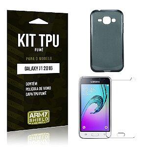 Kit Tpu Fumê Samsung j1 2016 Película de Vidro + Capa Tpu Fumê -ArmyShield