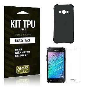 Kit Tpu Fumê Samsung j1 ace Película de Vidro + Capa Tpu Fumê -ArmyShield