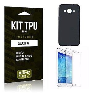 Kit Tpu Fumê Samsung j2 2015 Película de Vidro + Capa Tpu Fumê -ArmyShield