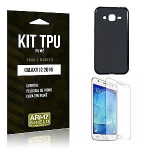 Kit Tpu Fumê Samsung J2 II 2016 Película de Vidro + Capa Tpu Fumê -ArmyShield