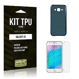 Kit Tpu Fumê Samsung j3 2015 Película de Vidro + Capa Tpu Fumê -ArmyShield