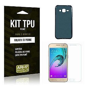 Kit Tpu Fumê Samsung j3 prime Película de Vidro + Capa Tpu Fumê -ArmyShield