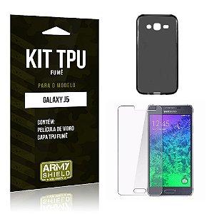 Kit Tpu Fumê Samsung j5 Película de Vidro + Capa Tpu Fumê -ArmyShield