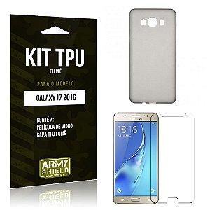 Kit Tpu Fumê Samsung J7 II 2016 Película de Vidro + Capa Tpu Fumê -ArmyShield