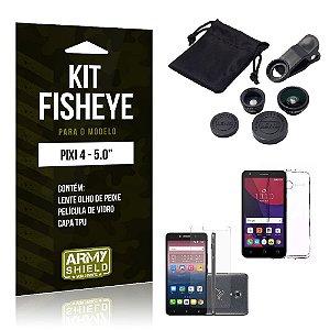 Kit Fisheye Alcatel pixi 4/5.0 Película de Vidro + Capa Tpu e Lente Olho de Peixe -ArmyShield
