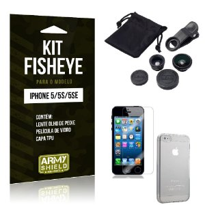 Kit Fisheye Iphone 5g/5 se Película de Vidro + Capa Tpu e Lente Olho de Peixe -ArmyShield