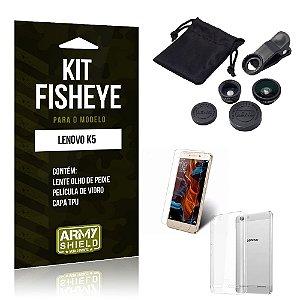Kit Fisheye Lenovo k5 Película de Vidro + Capa Tpu e Lente Olho de Peixe -ArmyShield