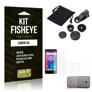 Kit Fisheye Lenovo k6 Película de Vidro + Capa Tpu e Lente Olho de Peixe -ArmyShield