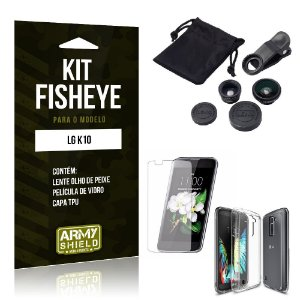 Kit Fisheye Lg k10 Película de Vidro + Capa Tpu e Lente Olho de Peixe -ArmyShield