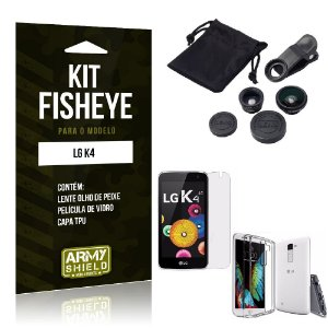 Kit Fisheye Lg k4 Película de Vidro + Capa Tpu e Lente Olho de Peixe -ArmyShield