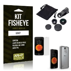 Kit Fisheye Lg k7 Película de Vidro + Capa Tpu e Lente Olho de Peixe -ArmyShield