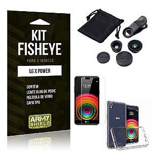 Kit Fisheye Lg x power Película de Vidro + Capa Tpu e Lente Olho de Peixe -ArmyShield