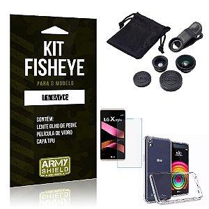 Kit Fisheye Lg x style Película de Vidro + Capa Tpu e Lente Olho de Peixe -ArmyShield