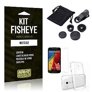 Kit Fisheye Motorola moto g2 Película de Vidro + Capa Tpu e Lente Olho de Peixe -ArmyShield