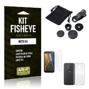 Kit Fisheye Motorola moto g4 Película de Vidro + Capa Tpu e Lente Olho de Peixe -ArmyShield