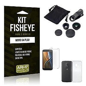 Kit Fisheye Motorola moto g4 play Película de Vidro + Capa Tpu e Lente Olho de Peixe -ArmyShield