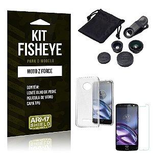 Kit Fisheye Motorola moto z force Película de Vidro + Capa Tpu e Lente Olho de Peixe -ArmyShield