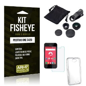 Kit Fisheye Positivo One s420 Película de Vidro + Capa Tpu e Lente Olho de Peixe -ArmyShield