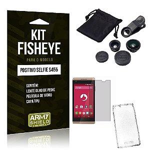 Kit Fisheye Positivo Selfie s455 Película de Vidro + Capa Tpu e Lente Olho de Peixe -ArmyShield