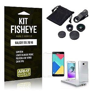 Kit Fisheye Samsung a5 2016 Película de Vidro + Capa Tpu e Lente Olho de Peixe -ArmyShield