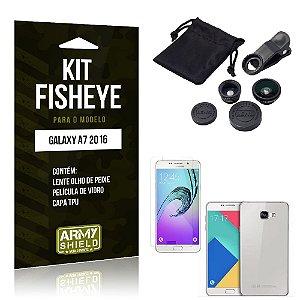 Kit Fisheye Samsung a7 2016 Película de Vidro + Capa Tpu e Lente Olho de Peixe -ArmyShield