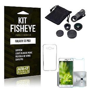 Kit Fisheye Samsung galaxy j3 pro Película de Vidro + Capa Tpu e Lente Olho de Peixe -ArmyShield