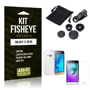 Kit Fisheye Samsung j1 2016 Película de Vidro + Capa Tpu e Lente Olho de Peixe -ArmyShield