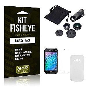 Kit Fisheye Samsung j1 ace Película de Vidro + Capa Tpu e Lente Olho de Peixe -ArmyShield