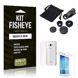 Kit Fisheye Samsung J2 II 2016 Película de Vidro + Capa Tpu e Lente Olho de Peixe -ArmyShield