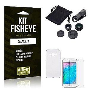 Kit Fisheye Samsung j3 2015 Película de Vidro + Capa Tpu e Lente Olho de Peixe -ArmyShield