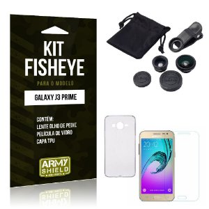 Kit Fisheye Samsung j3 prime Película de Vidro + Capa Tpu e Lente Olho de Peixe -ArmyShield