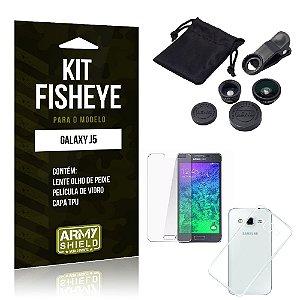 Kit Fisheye Samsung j5 Película de Vidro + Capa Tpu e Lente Olho de Peixe -ArmyShield