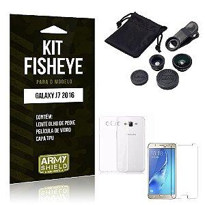 Kit Fisheye Samsung J7 II 2016 Película de Vidro + Capa Tpu e Lente Olho de Peixe -ArmyShield