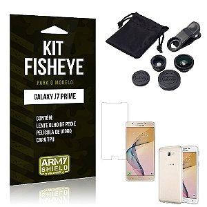 Kit Fisheye Samsung j7 prime Película de Vidro + Capa Tpu e Lente Olho de Peixe -ArmyShield