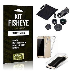 Kit Fisheye Samsung s7 edge Película de Vidro + Capa Tpu e Lente Olho de Peixe -ArmyShield