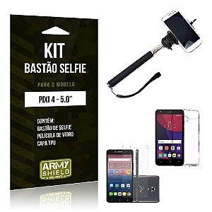 Kit Bastão Selfie Alcatel pixi 4/5.0 Película de Vidro + Capa Tpu + Bastão Selfie -ArmyShield